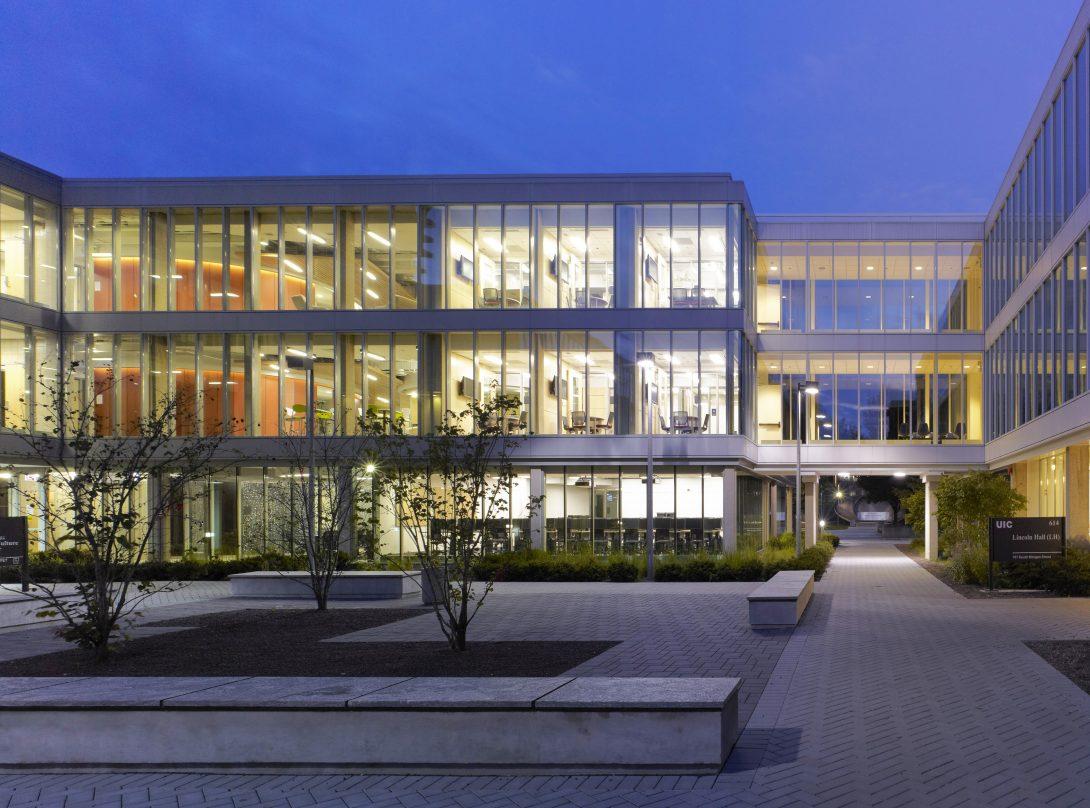 Illuminated campus building