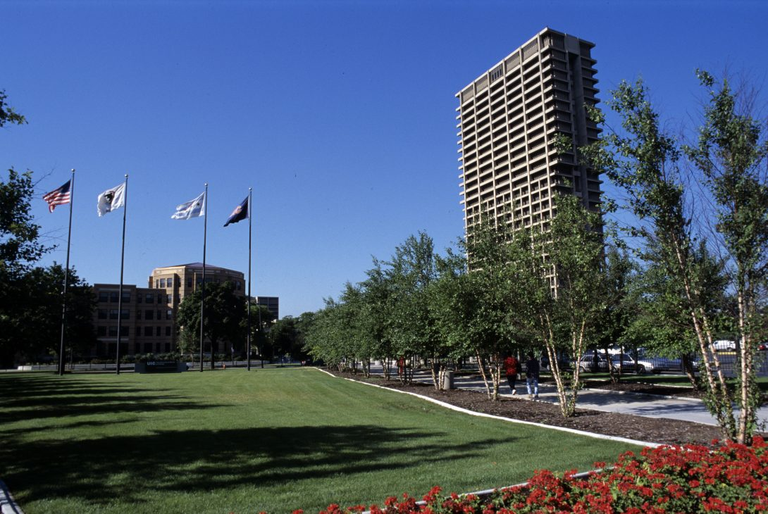 Green space on campus facing University Hall