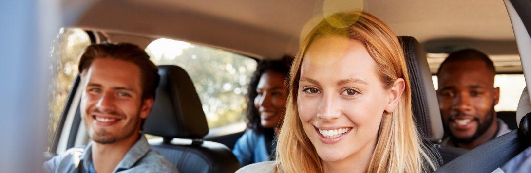 Four people carpooling